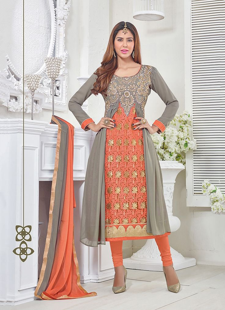 Be the sunshine of anyone's eyes dressed in this orange georgette churidar designer suit. The fantastic dress creates a dramatic canvas with unbelievable embroidered and resham work.  #bridallehenga #bridalwear #indianbride #southasianbride #southasianwedding #bengaliwedding #pakistanistreetstyle #salwarsuits #partywear #fashionandstylish #shoponline #ethnicwear #originals #desicouture #festive #collection #musthave #indianwardrobe #indianfashion #PayPal #india #Canada #Australia
