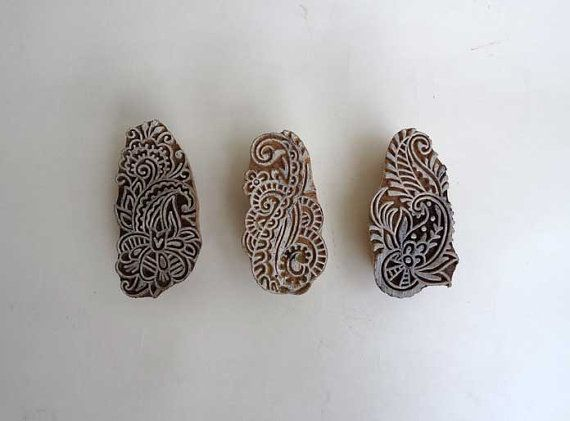Printing block  set of 3 Indian hand-carved by IndianCraftsBazaar