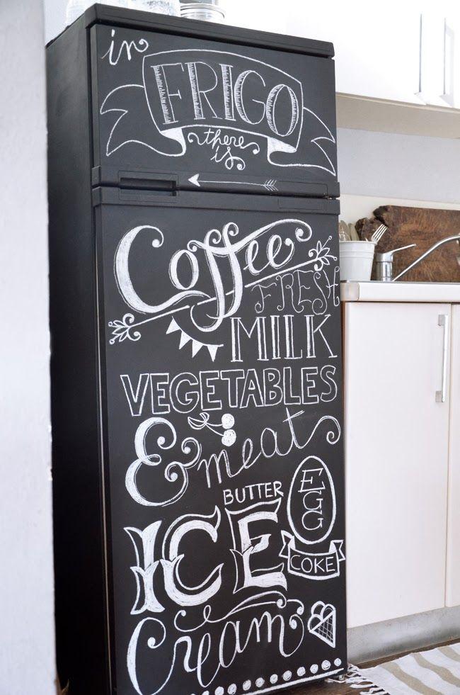 DIY: relooking pour un frigo esprit café.                                                                                                                                                                                 Plus