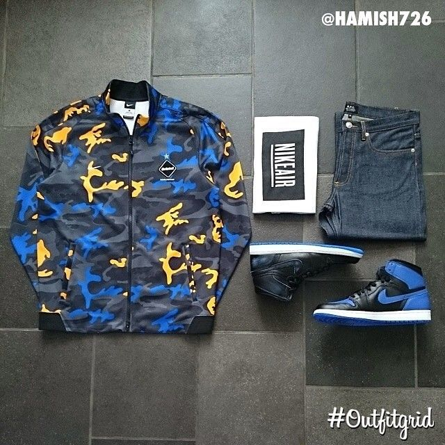 Today's top #outfitgrid is by @hamish726. #FCRB #Jacket, #Pigalle x #Nike #Tee, #APC #Denim, and #Jordan1 #LanceMountain & #Retro #Royals.
