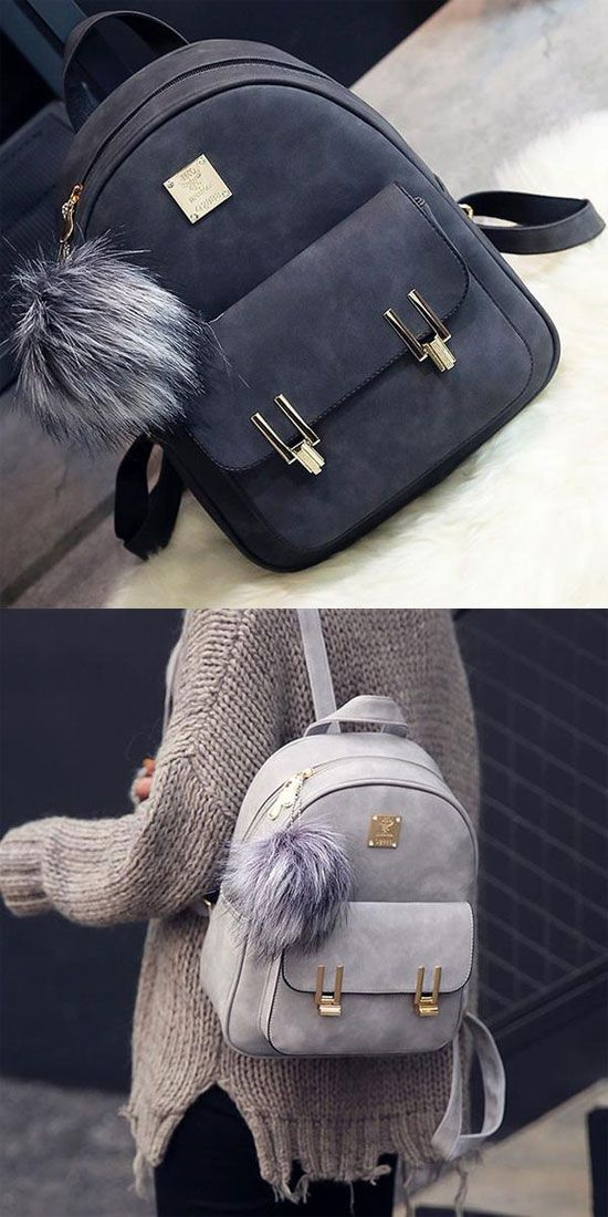 How nice backpack ! Fashion Frosted PU Zippered School Bag With Metal Lock Match