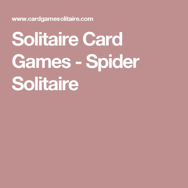 Solitaire Card Games - Spider Solitaire