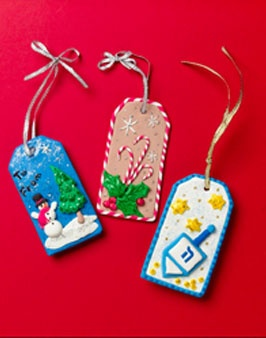 3-D Winter Holiday gift tags - easy craft for kids