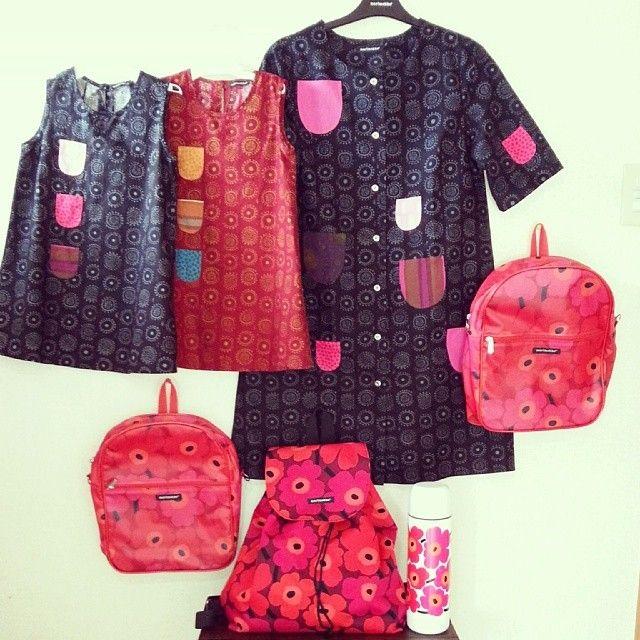 Outfit for picnic:-) #Marimekko#iloinentakki#kihlatasku#happydress#Marimekkolove#ハッピードレス 明日は幼稚園の歓迎遠足とやらに行ってきます! #遠足