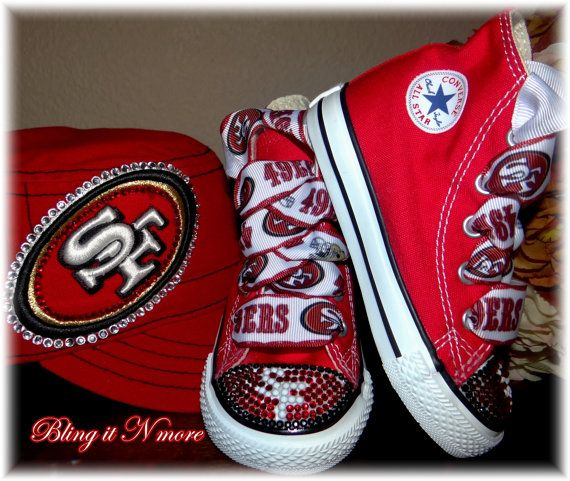 49ers high top converse bling shoes by blingitNmore on Etsy, $90.00
