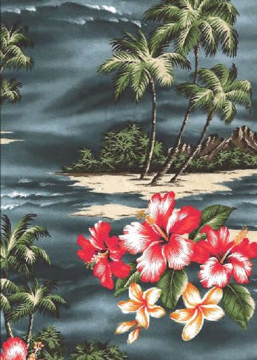 11mauna lepa Tropical Scenic Print; Hibiscus Flowers, palm trees & ocean views on a Hawaiian cotton broadcloth fabric.Add Discount code: (Pin10) in comment box at check out for 10% off sub total at BarkclothHawaii.com