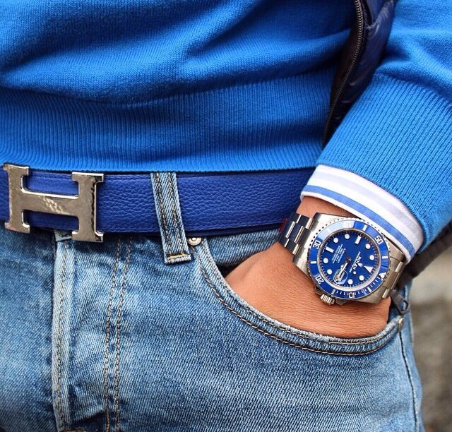 Blue White-Gold Rolex Submarine with a Hermes Belt