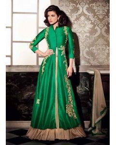 Green Art Silk Lehenga Style Suit