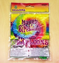 M27415 - Hippie Birthday Balloons. 30cm - Pack of 8 Happy Birthday Hippie Balloons 30cm Printed 1 Side - Pack of 8. Please note: approx. 14 day delivery time.