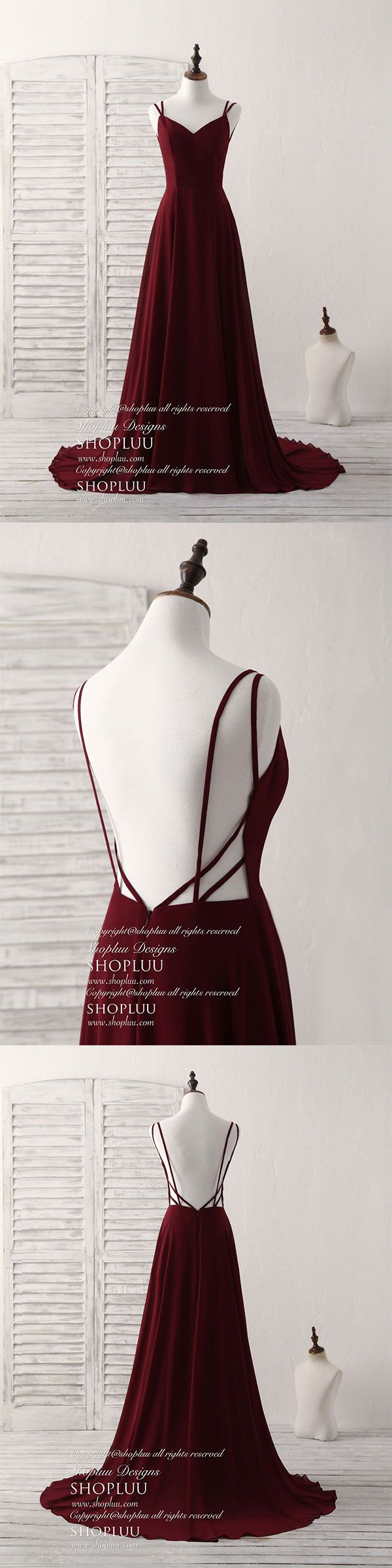 Simple burgundy chiffon long prom dress backless evening dress