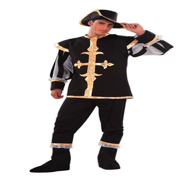 DisfracesMimo, disfraz de mosquetero negro para hombre talla m/l.Compra tu disfraz barato adulto para tu grupo. Este traje es ideal para tus fiestas temáticas de mosqueteros y espadachines.