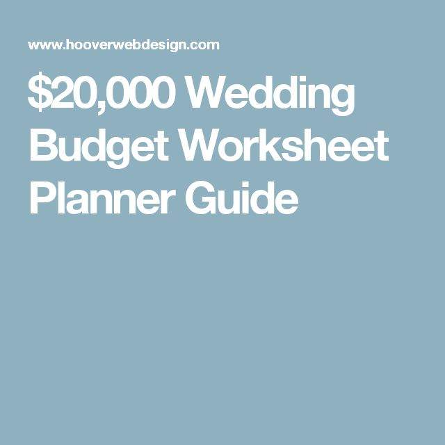 $20,000 Wedding Budget Worksheet Planner Guide