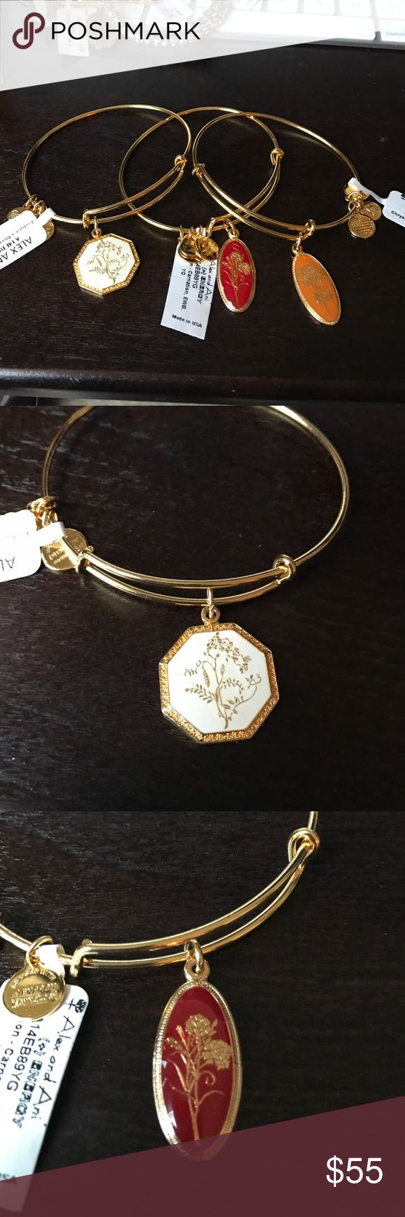 ❣️Rare❣️ set of Shiny gold Alex and Ani bracelets Set of 3 Alex and Ani shiny gold bracelets. Set includes golden flower, love potion carnation and fortune and bliss. Beautiful set and new with retail tags Alex & Ani Jewelry Bracelets