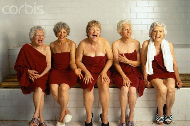 Happy Older Women in Sauna
