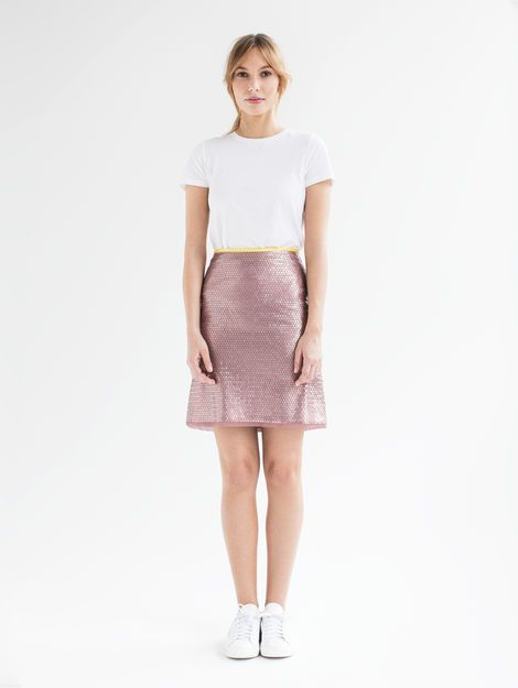 Gala- Made from embroidered fabric from Jakob Schlaepfer with matte sequins, the short shirt's A-line shape is both elegant and flirty. The skirt features a unique embroidery technique which keeps the sequins securely attached. Swiss made