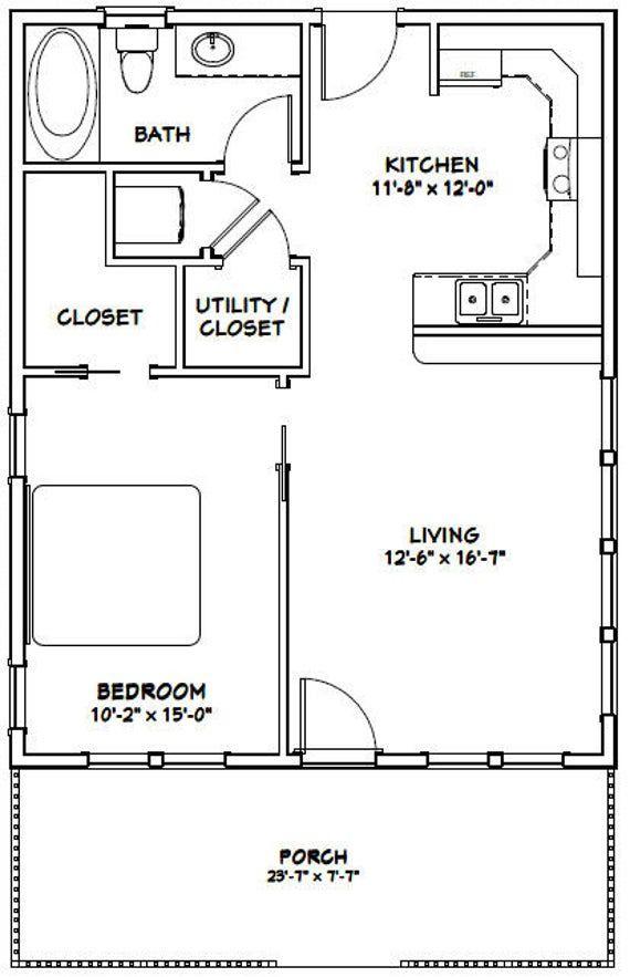 24x30 House 1 Bedroom 1 Bath 720 Sq Ft Pdf Floor Plan Etsy In 2020 Small House Floor Plans House Plans Tiny House Floor Plans