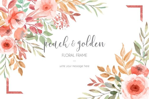Download Card Template With Peach And Golden Flowers And Leaves