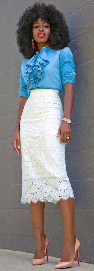 Ruffle Denim Shirt + Lace Pencil Skirt // Fashion Look by Style Pantry