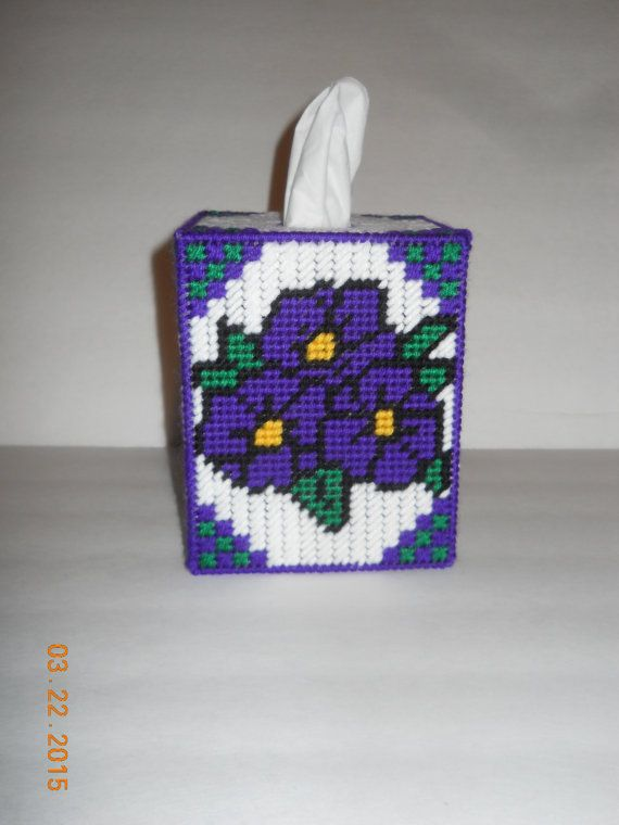 Purple Floral Tissue box cover in Plastic canvas by SpyderCrafts