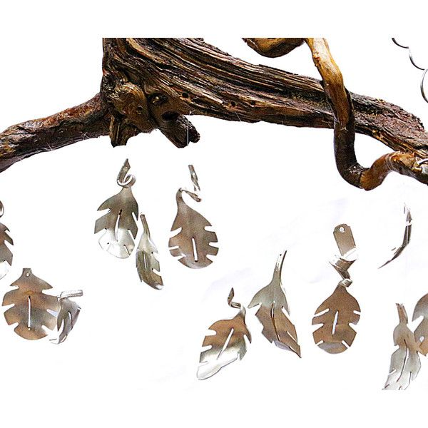 Spoon Leaf Mobile Holiday Decor Outdoor Christmas Decorations Novelty... (€120) ❤ liked on Polyvore featuring home, outdoors, outdoor decor, home & living, home décor, silver, wall décor, garden wind chimes, wind chimes and outdoor holiday decor
