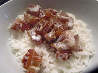 Warmed dates, coconut milk and basmati rice - best comfort meal if you're Vata aggravated