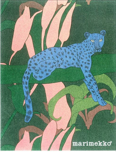 Marimekko Sininen gepardi - Blue Cheetah - Design Teresa Moorhouse by PCmarja2006, via Flickr