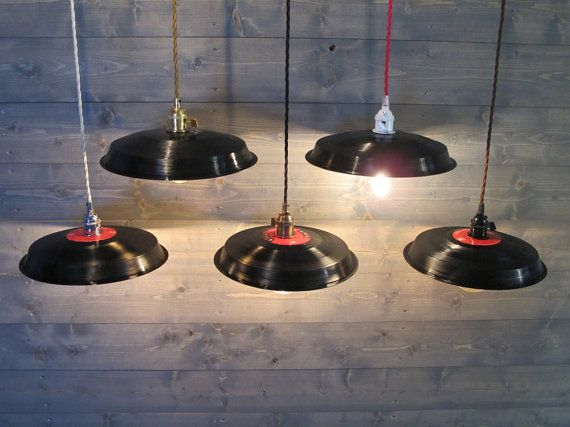 Black Vinyl Record Pendant Light Reused Plastic by VexDecor