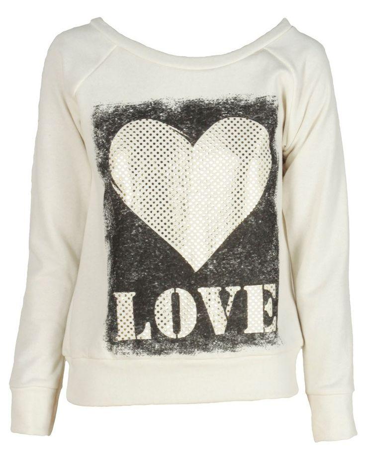Cream Foil Love Print Sweatshirt