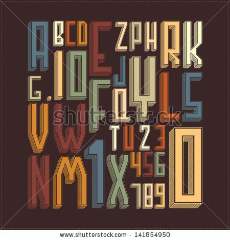Stylish alphabet. vector illustration by Incredible_movements, via Shutterstock