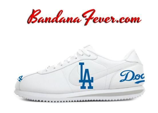 Custom Dodgers Nike Cortez Leather White/Grey, #Dodgers, #LADodgers, #dodgerblue, by Bandana Fever