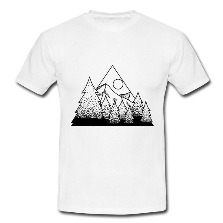 Motyw na koszulkę gór i lasu.