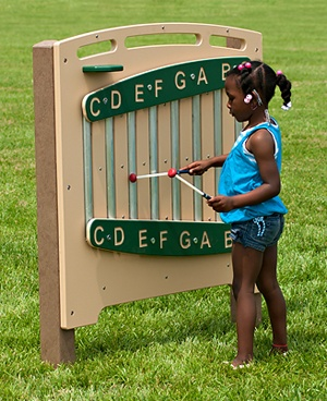 http://adventurouschild.com/chime-panel.php  This musical playground equipment is the Chime Panel.  The Chime Panel has a full scale of eight notes that allow children and adults to play a song and sing along. Children can hear contrasting sounds as they hit each note. The Chime Panel can be left outdoors in all types of weather.