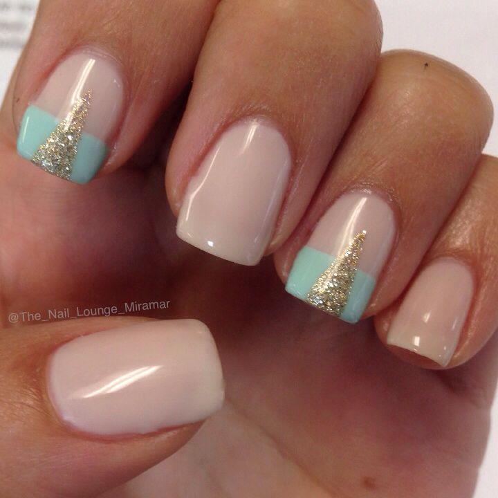 Mint gel nail art design