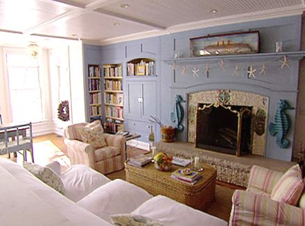 NOTE:  Look very closely at the mantel shelf, and see the ****starfish garland****NEED to hang one like this!!!  (at christie brinkley's Hamptons house )