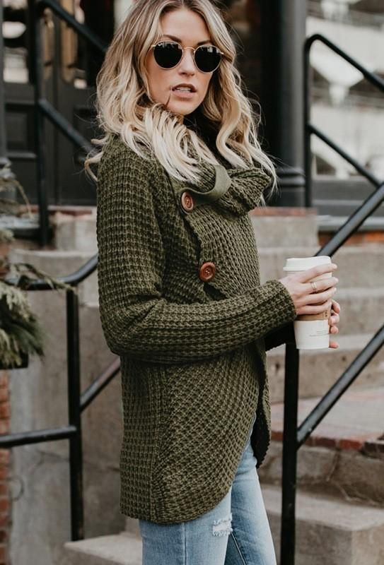6c99766b09 Olive Green Button Turtleneck Wrap Cardigan. Olive Green Button Turtleneck  Wrap Cardigan Wrap Cardigan