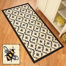 Yellow Black Bumblebee Flowers Lattice Design Kitchen Floor Runner Rug Door Mat