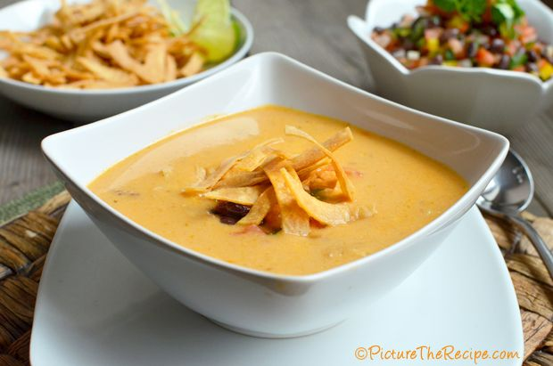 Chicken Tortilla Soup - Love this soup, freezes well. I use velveeta cheese instead of chedder and don't use as much water. Cut tortillas into large wedges and grill until crisp, can use to scoop up soup.