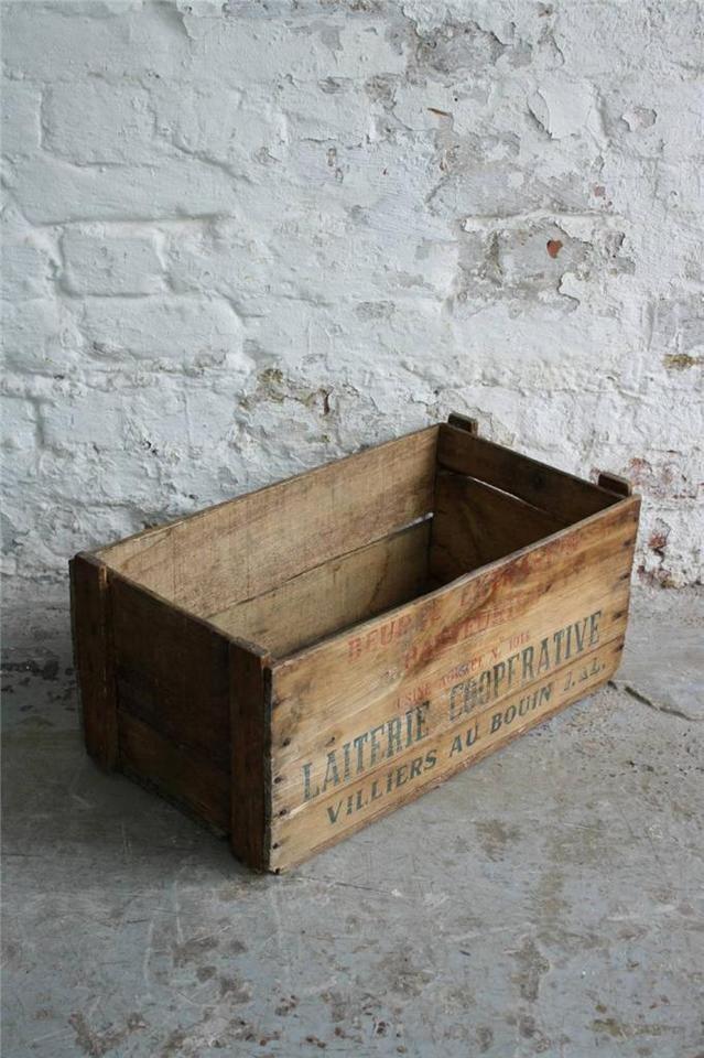vintage industrielle french holz butter kiste box 1012. Black Bedroom Furniture Sets. Home Design Ideas