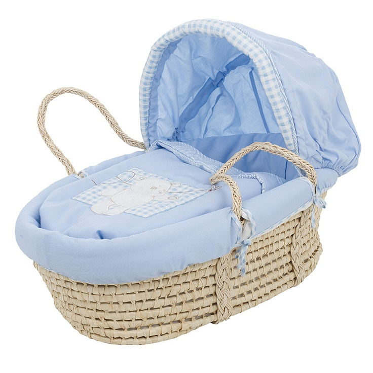 blue nursery - charming wicker Moses basket