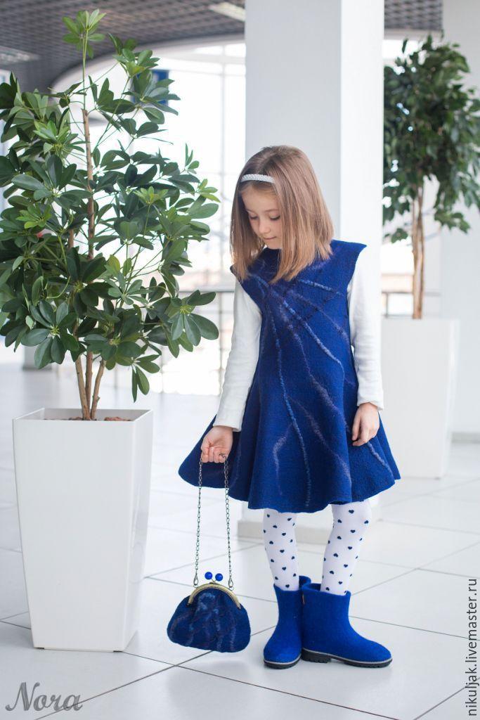 Купить Валяное платье для девочек Синий иней - синий, однотонный, Синее платье, синий иней