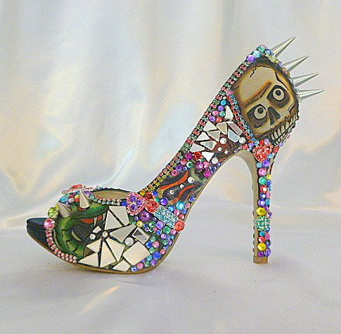 """'Too Too Tattoo' OOAK Spiky High Heel Fierce Party Shoes