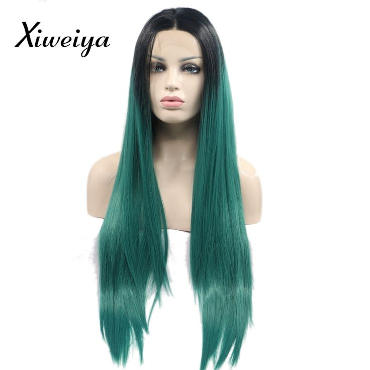 Xiweiya Heat resistant Synthetic green lace front wig Soft Long green middle parting wig for women glueless dark root wig #Affiliate