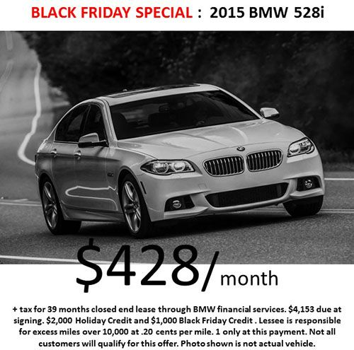 5-Series (Black Friday Weekend Special)! $428/month on a 2015 #BMW 528i! Call Us Today for More Details on this special offer! (818) 432-9000. Expires: December 1st!
