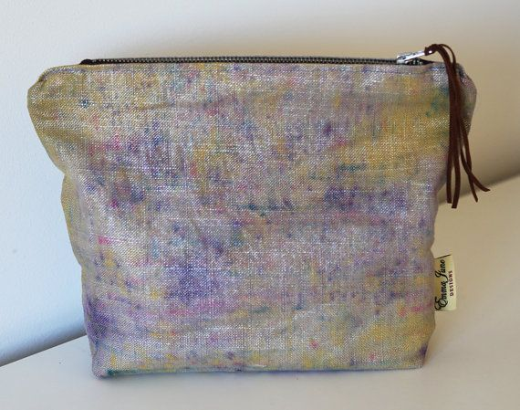 Hand dyed Linen Makeup Bag/ Purse Purple/ by EmmaJuneDesigns, €19.00