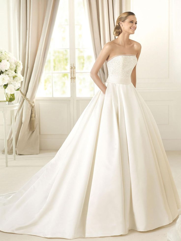 Lovely A line Strapless Cathedral Train White Satin Wedding Dress WS