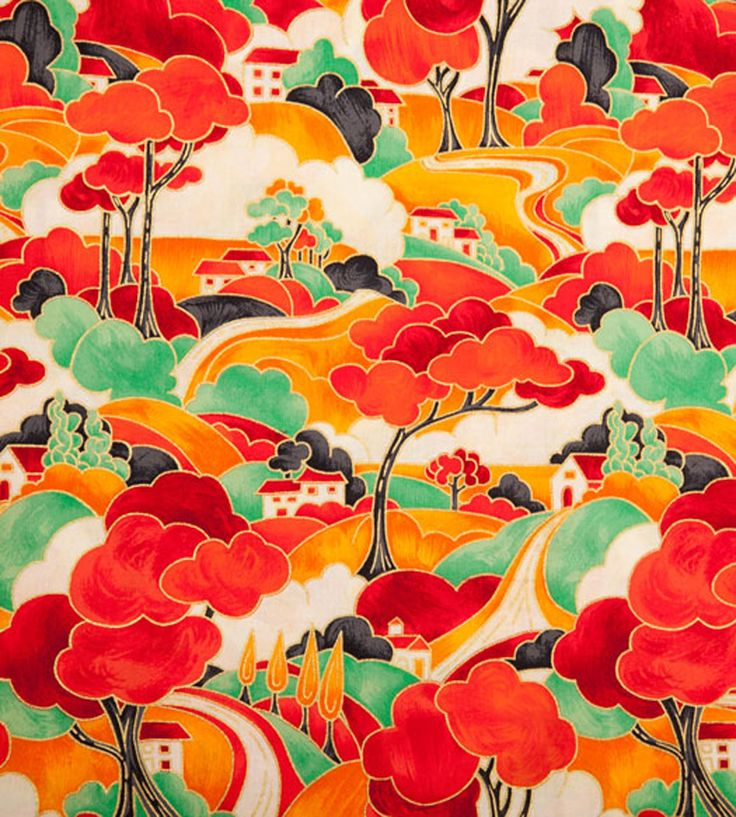 Clarice Cliff fabric......I'd love to frame a swatch of this and hang it on the wall.....gorgeous!!