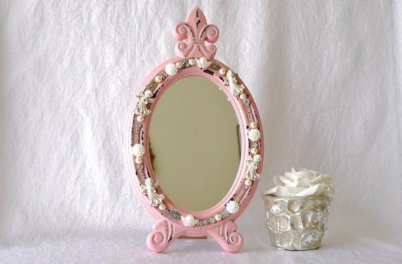 Kosmetikspiegel Handspiegel rosa Schmuck Spiegel #mirror #handmirror #embellishment #pink