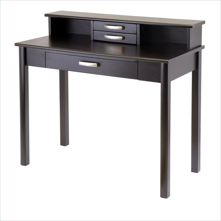 Winsome Liso Wood Writing Desk With Hutch In Dark Espresso, $199,  37Hx20.5Dx42W