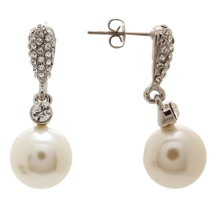 Pearl Drop & Swarovski EarringsOzsaleHL01904ECRM-Cream
