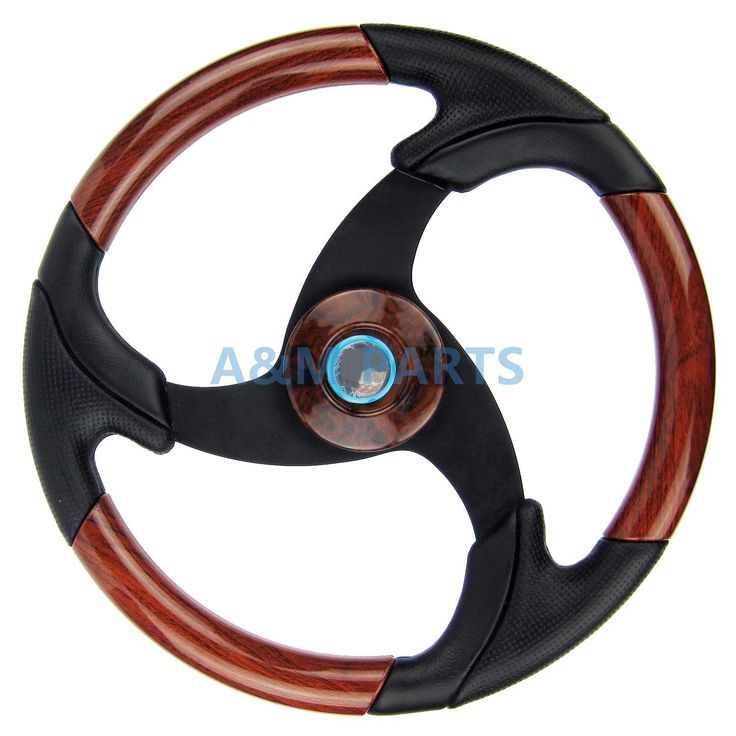 Marine Boat Steering Wheel Wood Leather Pontoon Boat Spot Steering Wheel Aluminum Spoke Black Grip 13.5""